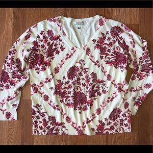 Talbots Floral V neck sweater